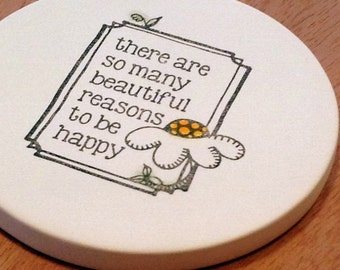 cup holder coaster, wine glass coaster - hand stamped bisque tile, absorbent -- be happy