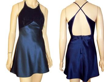 UNWORN 80s Pixie Mini Dress Navy Velvet & Satin Bust 34 Halter Style by L. A. Glo