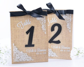Burlap Wedding Table Number Tent Cards - Vintage Wedding Table Centerpiece - Vintage Wedding Decor - Rustic Wedding Table Tents