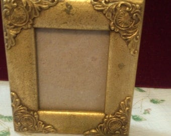REDUCED  Small Gold Picture Frame can Sit Either Way
