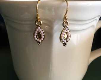 Small Delicate Light Pink Gold Earrings