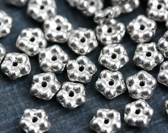 5mm Metallic Silver daisy flower beads, czech glass flat daisy, silver flower spacer - 50pc - 1207