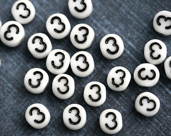 3 Number beads, white czech glass beads with black inlays, number 3 bead, symbol, 6mm - 25pc - 2465