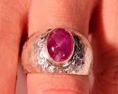 Vintage 80s Sterling Ruby Solitaire Ring Hammered French Jewelry Size 7.75US