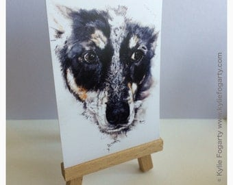 Art Trading Card - DOG Painting -   Lilly   ACEO Fine Art Print - Miniature Print -Animal Art, Dog - Art - Animal Lover - Unique Gift - ATC
