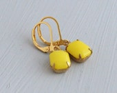 Yellow Earrings .. yellow glass earrings, neon earrings, colourful earrings, citrus earrings