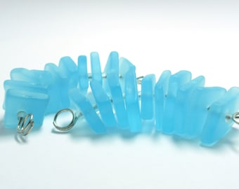 Recycled Glass Center Drilled for Jewelry Making, Aqua Blue Center Drilled Recycled Glass - 1 Set of 10 pcs