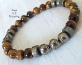 Men's Tiger eye, Pyrite bracelet, Mala bracelet, Reiki Charged, Energy bracelet, tribal bracelet, yoga mala, tiger eye bracelet