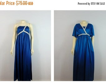 CLOTHING SALE Vintage Nightgown & Dressing Gown Robe Set 70s Shadowline Ocean Blue Satin and Ivory Lace Trim Full Length RARE Style Size S M