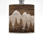 Mountain Flask Mens Flask Mountain Womens Liquor Wedding Groomsmen Drinking Gift Wanderlust Guys Birthday Outdoorsy Outdoorsman Gifts