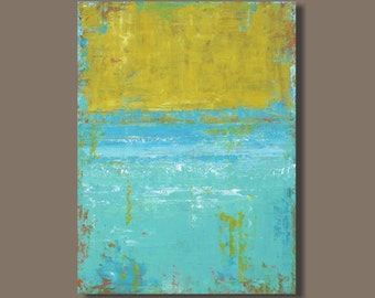 FREE SHIP large abstract painting, color field painting, yellow and turquoise, sea foam blue, beach, Rothko inspired, modern art, minimalist