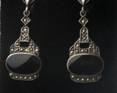 Vintage Sterling Silver Black Onyx MOP Dangle Earrings Fine Jewelry