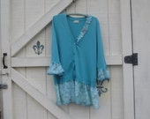 Pretty cardigan, rustic turquoise sweater, Spring lace, romantic cardigan, M-L, sweater, Upcycled clothing