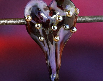 Lava Flow Heart Handmade Lampworked Glass Bead OOAK Red Brick Purple Lilac Silver Heart Sculpted Focal Lampwork