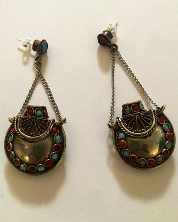 Vintage Indian Sterling Silver, Coral, Turquoise Sterling Perfume Bottle Earrings