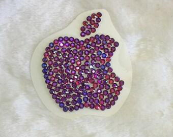 2 Inch Swarovski MAC Apple Sticker - 2 Tone Deep Purple Fire