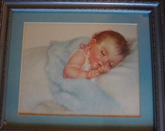 "Vintage Beautiful Framed ""Charlotte Becker"" Baby Print"