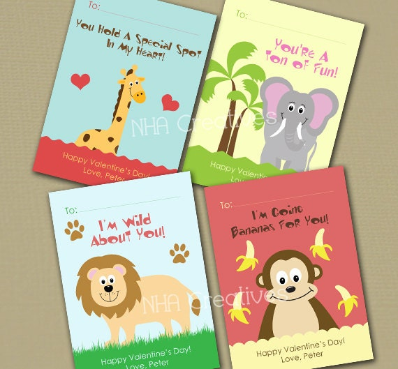 Items similar to Personalized Zoo Animal Valentines Day Cards – Elephant Valentines Card
