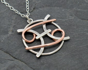 Pisces Cancer zodiac necklace sterling silver and polished copper