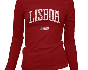 Women's Lisbon Portugal Long Sleeve Tee - S M L XL 2x - Ladies' Lisbon T-shirt, Lisboa, Portuguese - 4 Colors