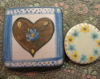 set of 2 TEENY WEENY PINS ceramic country heart