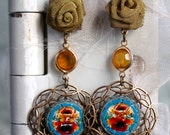 Antique button earrings -...