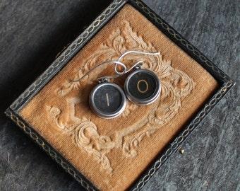 Typewriter key earrings, original, vintage jewelry steampunk antique up cycled repurposed assemblage