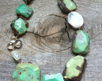 Chrysoprase statement necklace