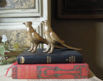 Vintage Gold Tone Salt and Pepper Shakers / Pheasant Salt and Pepper Shakers