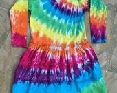 Girls Long Sleeve Tie Dye Dress, Rainbow Dress, 3 Tier Ruffle Dress for Girls