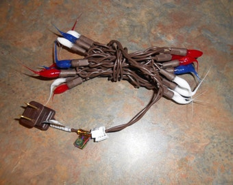 Americana Patriotic Primitive 20 Count Red, White & Blue Hand Crafted Silicon Light Strand