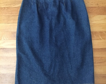 Vintage 80s blue jean wiggle straight skirt SALE