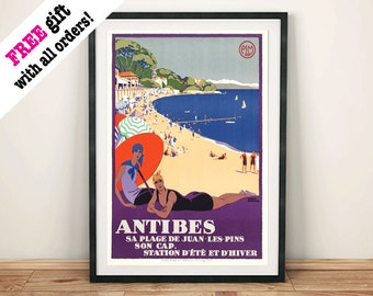 ANTIBES TRAVEL POSTER: Vintage Cotes d'Azur French Riviera Beach Art Print Wall Hanging
