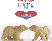 CUSTOM RESERVED Order for Rachael - Custom Glittered Polar Bear Cubs in Gold Glitter.