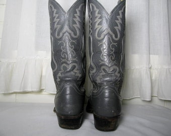 Men's Vtg gray Justin cowboy boots size 9 1/2 B Fancy 8 row stitching