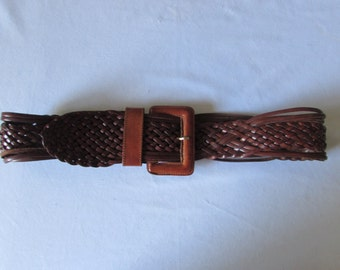 Leather Adjustable Belt Wide woven Leather European size 95 Boho High Fashion