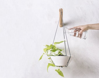 Hanging planter, wall plant holder, grey plant hanger