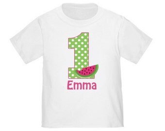 1st Birthday Pink Green Watermelon Personalized Birthday Shirt - ANY Age