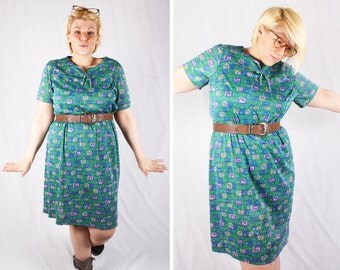 60's Swirl Design Short-Sleeve Dress