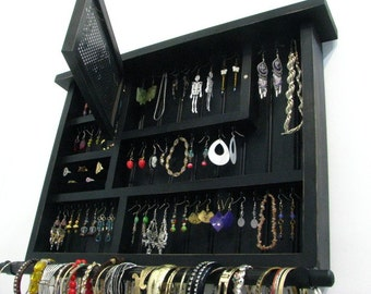 Distressed Black jewelry display