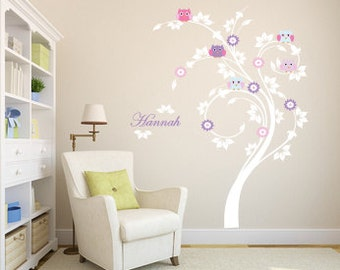 Children wall decal tree - Vinyl tree decal - Owl tree decal - flower swirl tree - owls and name decal -  On Sale