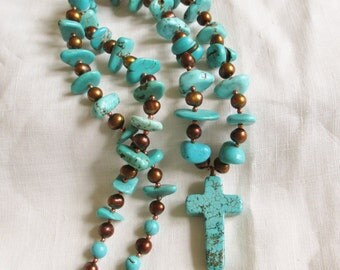 "Vintage Native American Turquoise W/ Cross Chunky bead heishi 24"" Necklace Vintage Jewelry By Vintagelady7"