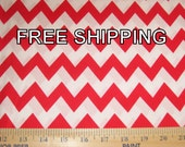Cotton Fabric by the yard Red and White Chevron FREE SHIPPING