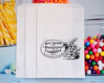 12 Alice In Wonderland Treat bags, Alice In Wonderland Goody Bags, Alice In Wonderland Candy Bags, Alice In Wonderland Favor Bags