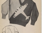 Knit O Graf pattern 875, airplane sweater for children sizes 6, 8, 10, 12. pdf format instant download