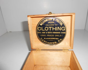 Antique Box, Wooden Box ,Vintage Clothing Accessory Box,Advertising