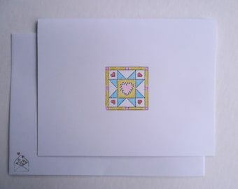 Hand Colored Greeting Cards, Quilt Block Cards, Blank Greeting Cards, Quilt Cards, Blue Star Cards, Set of 8