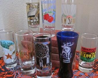 Shot Glass Collection LOT of 8 Vintage Double Shot: Cayman Island Aruba Jamaica Palm Springs Washington Rainier Oregon Oklahoma Chicago