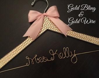 GOLD Rhinestone Hanger, BLING Wedding Hanger, Bridal Hanger, Personalized Hanger, Gold Wire Hanger, Bride Hanger, Gold and Blush Wedding