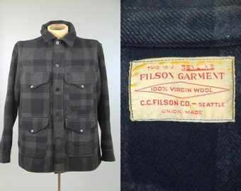 60s Filson Buffalo Check Black & Grey Shadow Plaid Wool Cruiser Hunting Jacket RARE